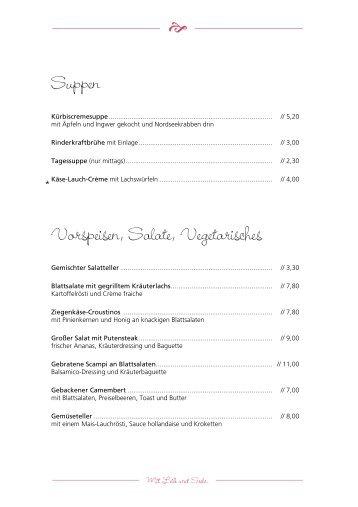 Suppen Vorspeisen, Salate, Vegetarisches - Viebrocks Gasthaus