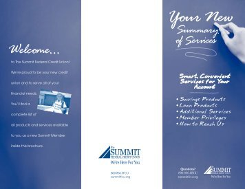 Your New Summary of Services - The Summit Federal Credit Union
