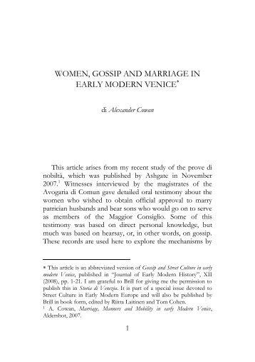 women, gossip and marriage in early modern ... - Storia di Venezia