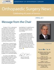 Orthopaedic Surgery News - UC Davis Health System
