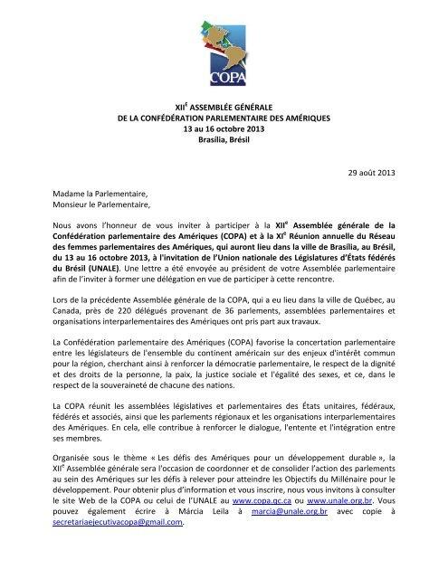 Lettre D Invitation Officielle Copa