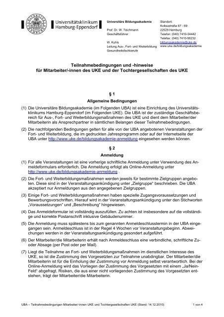 Teilnahmebedingungen Mitarbeiter/innen UKE und ...