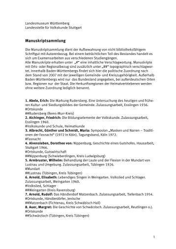 Manuskriptsammlung - Landesmuseum Württemberg
