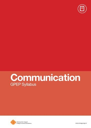 Communication - The Royal New Zealand College of General ...