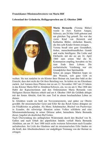 Lebenslauf Maria Bernarda Bütler