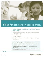 Fill up for less. Save on generic drugs. - Kaiser Permanente