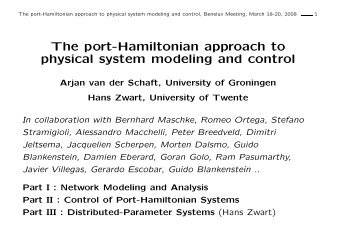 The port-Hamiltonian approach to physical system modeling and ...
