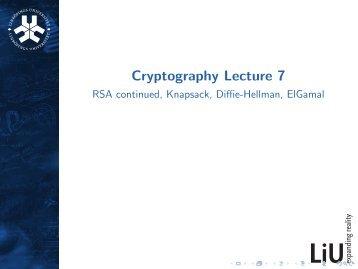 RSA continued, crypto knapsack, Diffie-Hellman, ElGamal