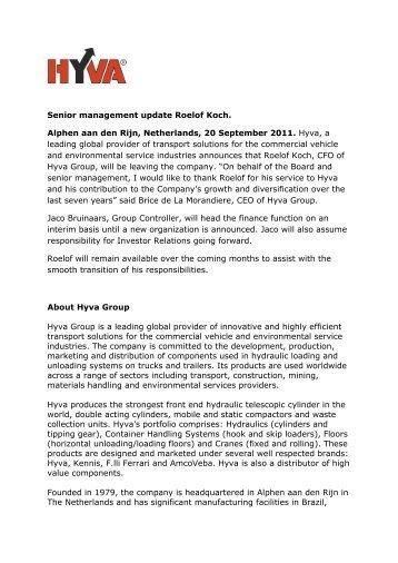 Senior management update Roelof Koch. Alphen aan den Rijn - Hyva