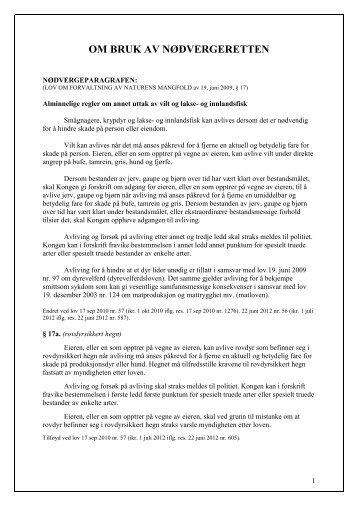 Nødverge informasjon om bruk - Norsk Sau og Geit