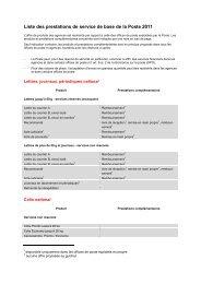 Liste des prestations de service de base de la Poste 2011 - PostCom