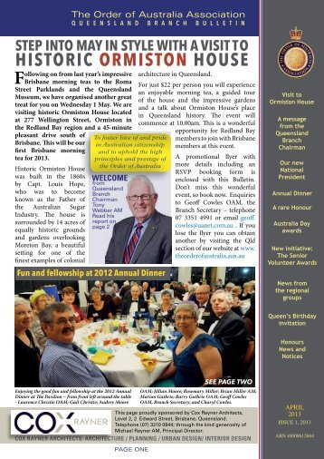 Qld Newsletter April 2013 - Order of Australia Association