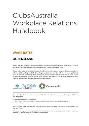 WAGE RATES QUEENSLAND - Clubs Queensland