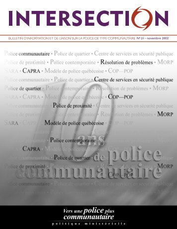 Intersection, no 21, novembre 2002 - Ministère de la Sécurité publique