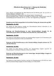 Öffentliche Beschlüsse der 5. Sitzung des Stadtrates am ... - Rabenau