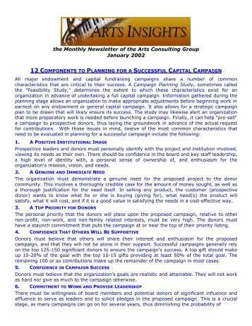 the Monthly Newsletter of the Arts Consulting Group January 2002
