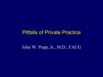 Pitfalls of Private Practice