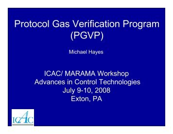 Importance of Protocol Gas Accuracy for Emissions ... - MARAMA