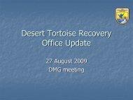 Desert Tortoise Recovery Office Update - Desert Managers Group