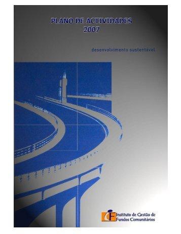 Plano de Actividades 2007 - Instituto de Desenvolvimento Regional