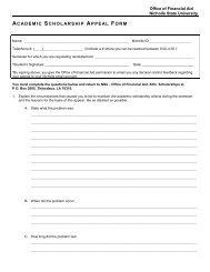Academic Scholarship Appeal Form - Nicholls State University