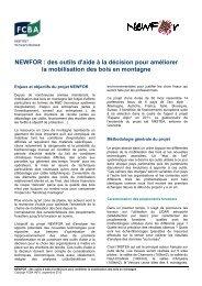 NEWFOR : des outils d'aide à la décision pour améliorer la ...