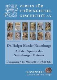 Dr. Holger Kunde (Naumburg) - Verein für Thüringische Geschichte
