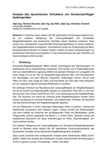 Analyse des dynamischen Verhaltens von ... - Logistics Journal