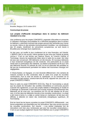 Les projets d'efficacité énergétique dans le secteur du ... - Concerto