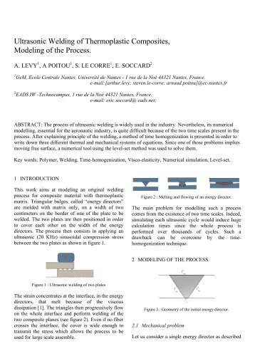 Ultrasonic Welding of Thermoplastic Composites, Modeling of the ...