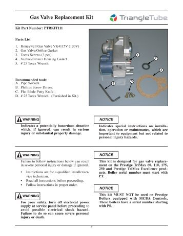 Gas Valve Replacement Kit - Triangle Tube