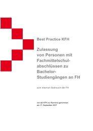 Best Practice KFH: Zulassung mit Fachmittelschulabschluss