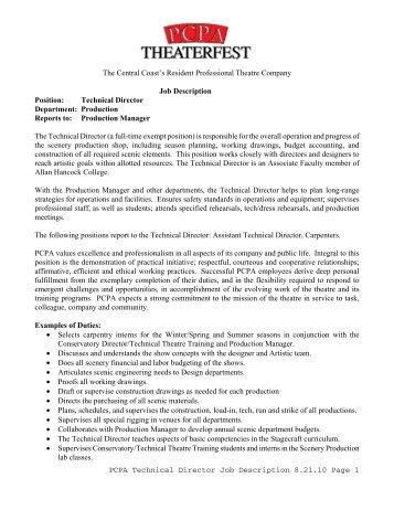 PCPA Technical Director Job Description 8.21.10 Page 1 The .