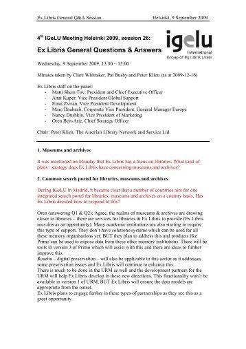 Ex Libris General Questions & Answers - IGeLU