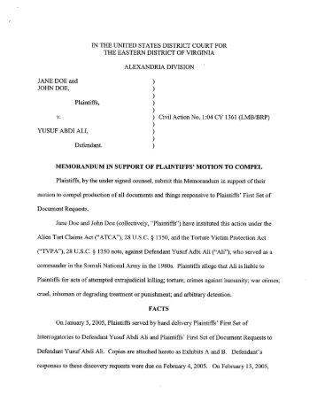 Memo in Support of Motion to Compel Court-Ordered Discovery