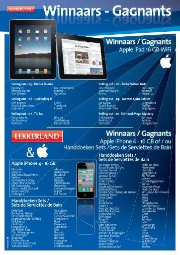 Winnaars - GaGnants - Lekkerland