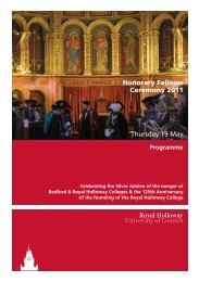 Honorary Fellows 2011 programme - Royal Holloway, University of ...