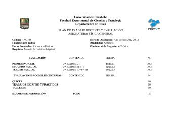 Universidad de Carabobo Facultad Experimental de Ciencias y ...