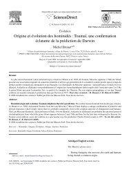 Origine et évolution des hominidés : Toumaï, une ... - Biolinguagem