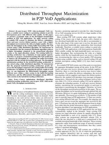 Distributed Throughput Maximization in P2P VoD ... - IEEE Xplore