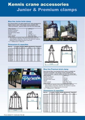 Junior & Premium clamps Kennis crane accessories - Hyva