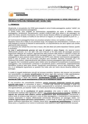 corretta applicazione art 146 TUBC - Ordine degli architetti di Bologna
