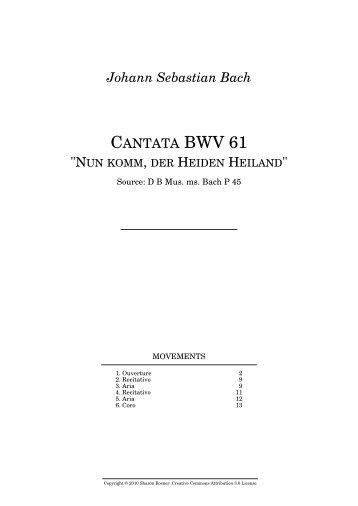 """Johann Sebastian Bach CANTATA BWV 61 """"NUN KOMM"""