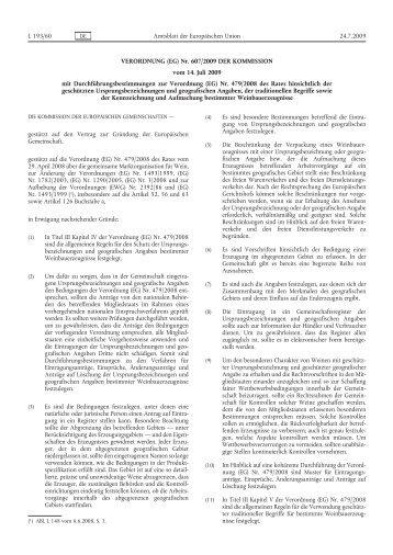 Verordnung (EG) Nr. 607/2009 der Kommission vom 14 ... - EUR-Lex