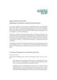 Junge Forscherinnen und Forscher Empfehlungen zur ... - UniWIND
