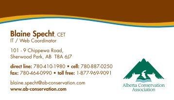 Blaine Specht, CET - Alberta Conservation Association