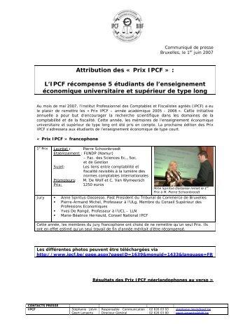 Attribution des « Prix IPCF » : L'IPCF récompense 5 étudiants ... - BIBF
