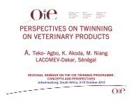 perspectives on twinning on veterinary products - OIE Africa