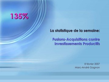 Fusions-Acquisitions contre Investissements Productifs