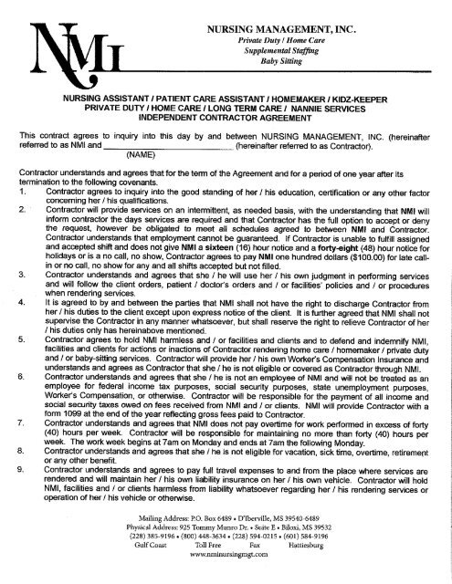 14 Non Nursing Agreement - Nursing Management
